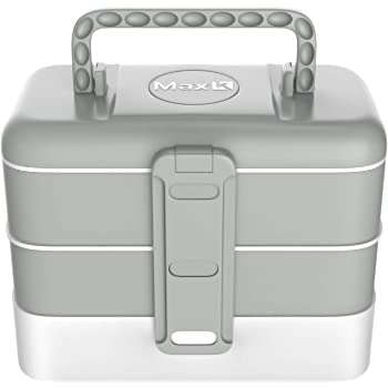 Max K Lunch Box for Kids and Adults - Bento Style Lunchbox with 3 Trays, Cutlery, Handles - No-BPA, Leak-Proof Sandwich, Meal and Snack Container - Hot and Cold Food Storage for School Boys and Girls