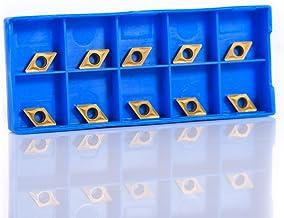 Akozon CNC - Cortador de metal duro, 10 piezas, caja CNC, puntas de metal duro, cuchilla, cúter, torno de torno, herramienta de torsión DCMT070204 YBC251 para torno y taladro