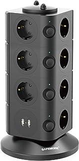 SAFEMORE Schaltbare 15-Fach Steckdosenleiste Überspannungsschutz Mehrfachsteckdosen Steckdosenturm mit Spannungsschutz 2 USB Anschlüsse 2500W/10A Schwarz