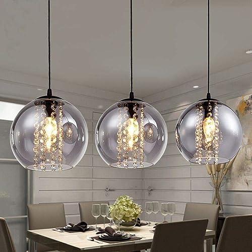 Luminaire de boule Orange moderne Bried dia 20cm verre pendentif mode bricolage déco maison salon cristal LED E14 lampe pendentif ampoule, gris fumée, balle unique, D25cm   2249