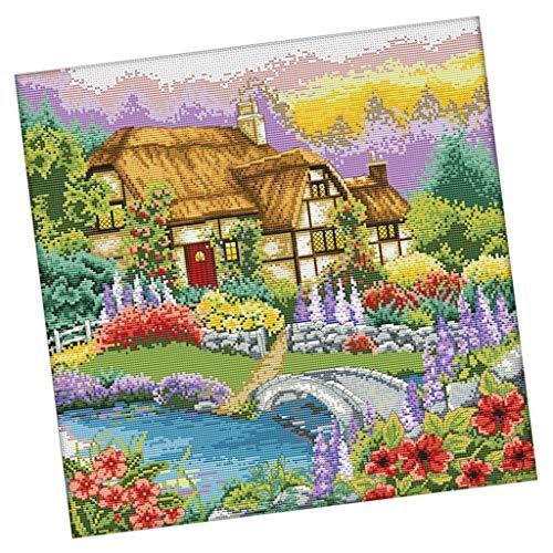Kreuzstich Stickpackung Stickbild Stickerei Stickvorlage vorgedruckt Blüte,