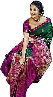 SGF11- Women's Kanjivaram Soft Silk Saree With Blouse Piece (Dark Green)