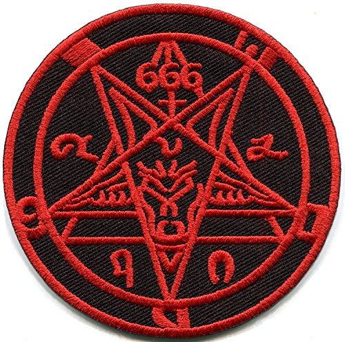 Satanic Goat's Head Baphomet Pentagram Pentacle 666 Occult red on Black Embroidered Applique Iron-on Patch New ?