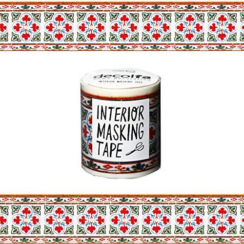ニトムズ デコルファ (decolfa) インテリア マスキングテープ タイル/レッド キレイにはがせる 幅5cm×長さ8m M3607
