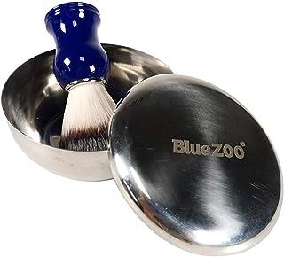HombosiShaving Bowl and Brush Set,Gift Set, Badger Hair Shaving Brush Stainless Steel Bowl Shaving Brush Holder Super Shav...