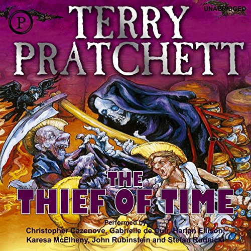 Thief of Time     A Discworld Novel              By:                                                                                                                                 Terry Pratchett                               Narrated by:                                                                                                                                 Stefan Rudnicki,                                                                                        Harlan Ellison                      Length: 11 hrs and 50 mins     780 ratings     Overall 4.5