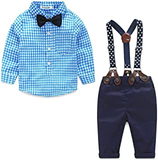for 0-24 Months, Toddler Infant Baby Boys Bow Checked Shirt+Suspender Pants,2Pcs Little Gentleman Outfits Clothes Sets