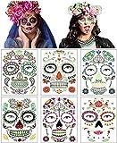 6 hojas de tatuajes faciales temporales de Halloween, pegati