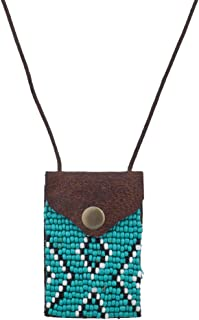 Lux Accessories Tribal Brown Turq Black White Seed Bead Pouch Pocket Necklace