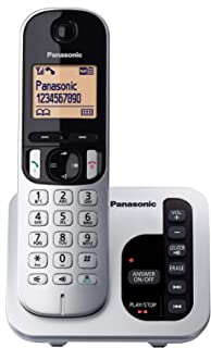 Panasonic DECT Digital Cordless Phone with Answering System & Single Handset, Silver/Black (KX-TGC220ALS)