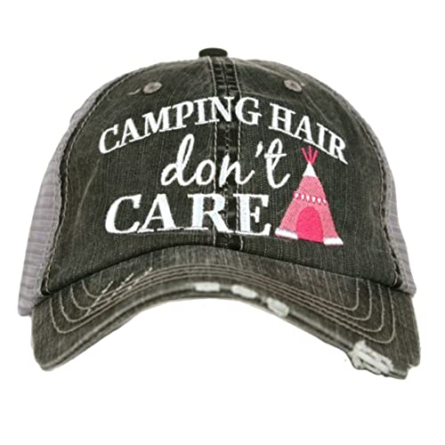 8ba013c8862 Katydid Camping Hair Don t Care Women s Trucker Hat-gray hot pink