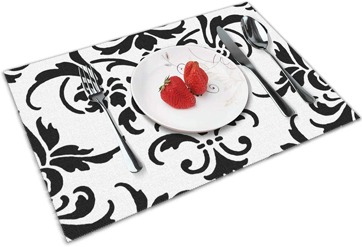 Chang Jin You Placemats Set Of 4 Marcella Damask Heat Resistant Placemats Washable Table Mats For Kitchen Dining Table
