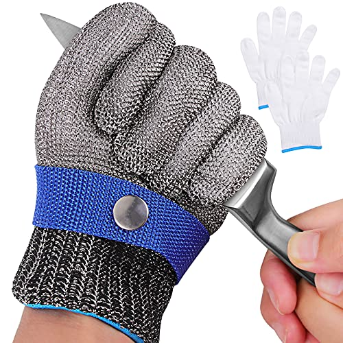 Level 9 Cut Resistant Gloves, Stainless Steel Safety Kitchen Cuts Glove for Meat Cutting, Fish Fillet Processing, Oyster Shucking, Wood Carving, Safety Butcher Work Gloves (XL-1PCS)