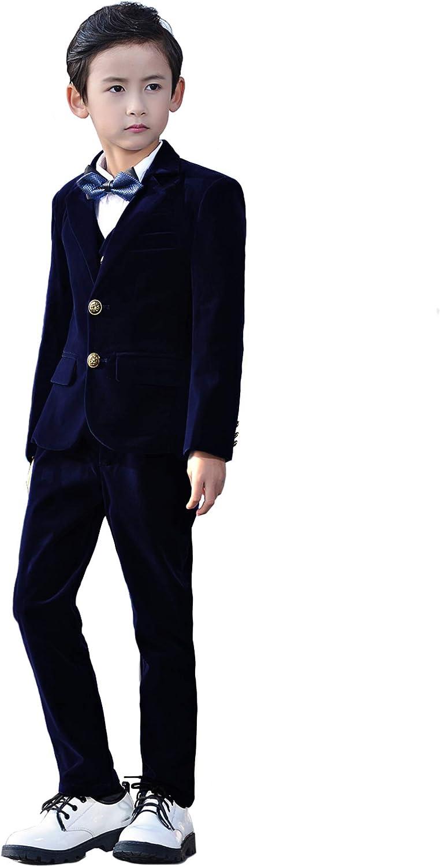 Yanlu 5 Piece Boys Suits 全国一律送料無料 Set Blazer with 祝開店大放出セール開催中 Kids Velvet Suit Formal
