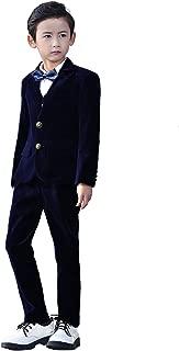 Yanlu 5 Piece Boys Suits Set Kids Formal Velvet Suit Blazer Vest Pants Shirt Bow Tie