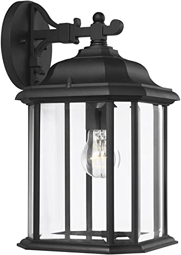 2021 Sea discount Gull Lighting lowest 84031-12 Kent One-Light Outdoor Wall Lantern with Clear Beveled Glass Panels, Black Finish online