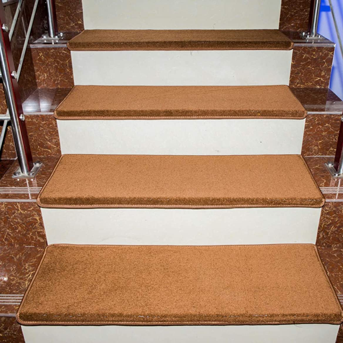 励起連続的襟階段の踏み板,ノンスリップ 自己-接着 防水 階段マット,屋内 屋外 持続可能です 盛大な歓迎 と 掃除が簡単,1 のセット-ブラウン 90x24cm(35x9inch)