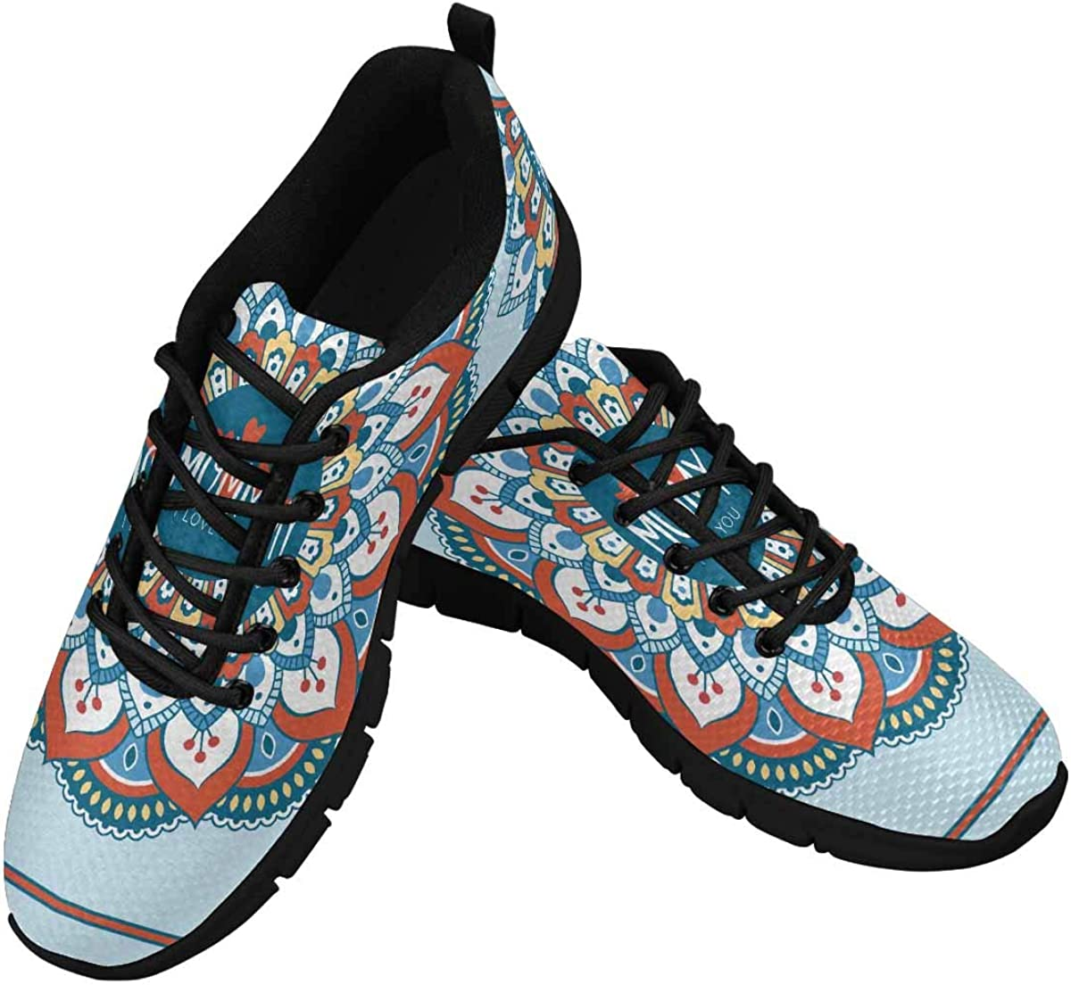 InterestPrint Flower Mandala Women's Athletic Walking Shoes Comfort Mesh Non Slip