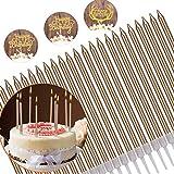 YFOX 24 Geburtstagskerzen zum Dekorieren von Kuchen und Geburtstagsfeiern, Ruhestandsfeiern (Champagner Gold)