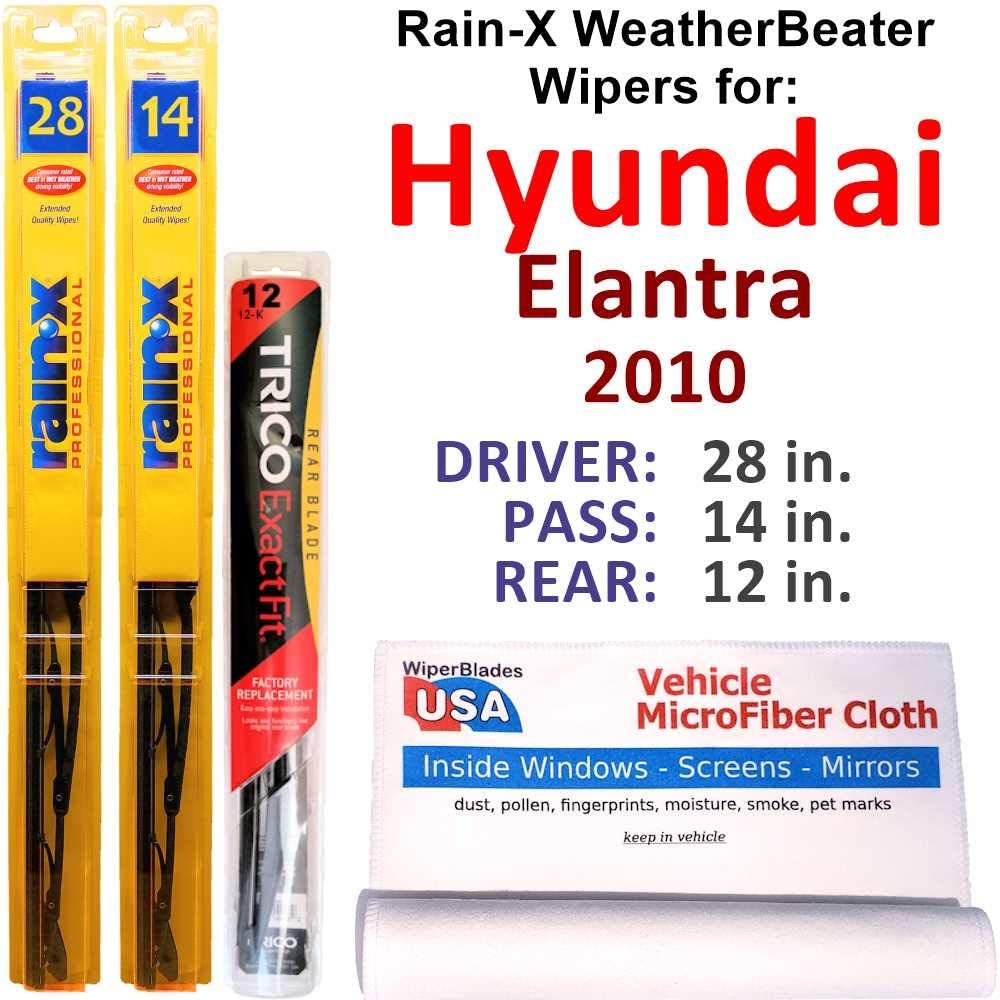Rain-X WeatherBeater Wipers for 2010 Elantra Hyundai 売り出し Rear Set セール品 w