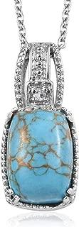 Blue Turquoise Sky Blue Topaz Pendant Necklace 20