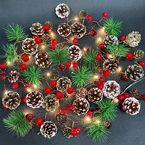 Camlinbo Garland with Lights Christmas Lights Battery Operated, 7FT 20LED Christmas Garland with Lights Pre-lit Garland Mantle Garland, Christmas Decoration Indoor Outdoor Xmas Home Decor(Warm White)