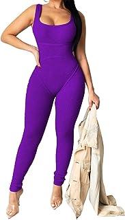 Smallwin Womens Fashion Wide Leg Halter Color Block Rompers Jumpsuits