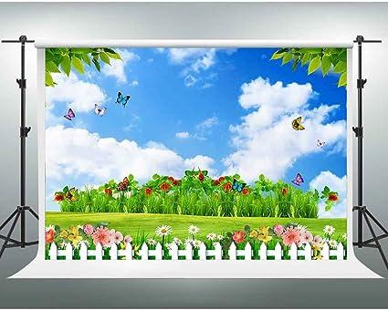 Gesen Hintergrund Für Fotostudio Grün Naturlandschaft Bunte Blumen Fotohintergrund Spring Garden 7x5ft