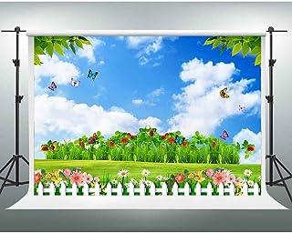 Gesen Hintergrund für Fotostudio, Grün, Naturlandschaft, Bunte Blumen, Fotohintergrund, Spring Garden, 7x5ft