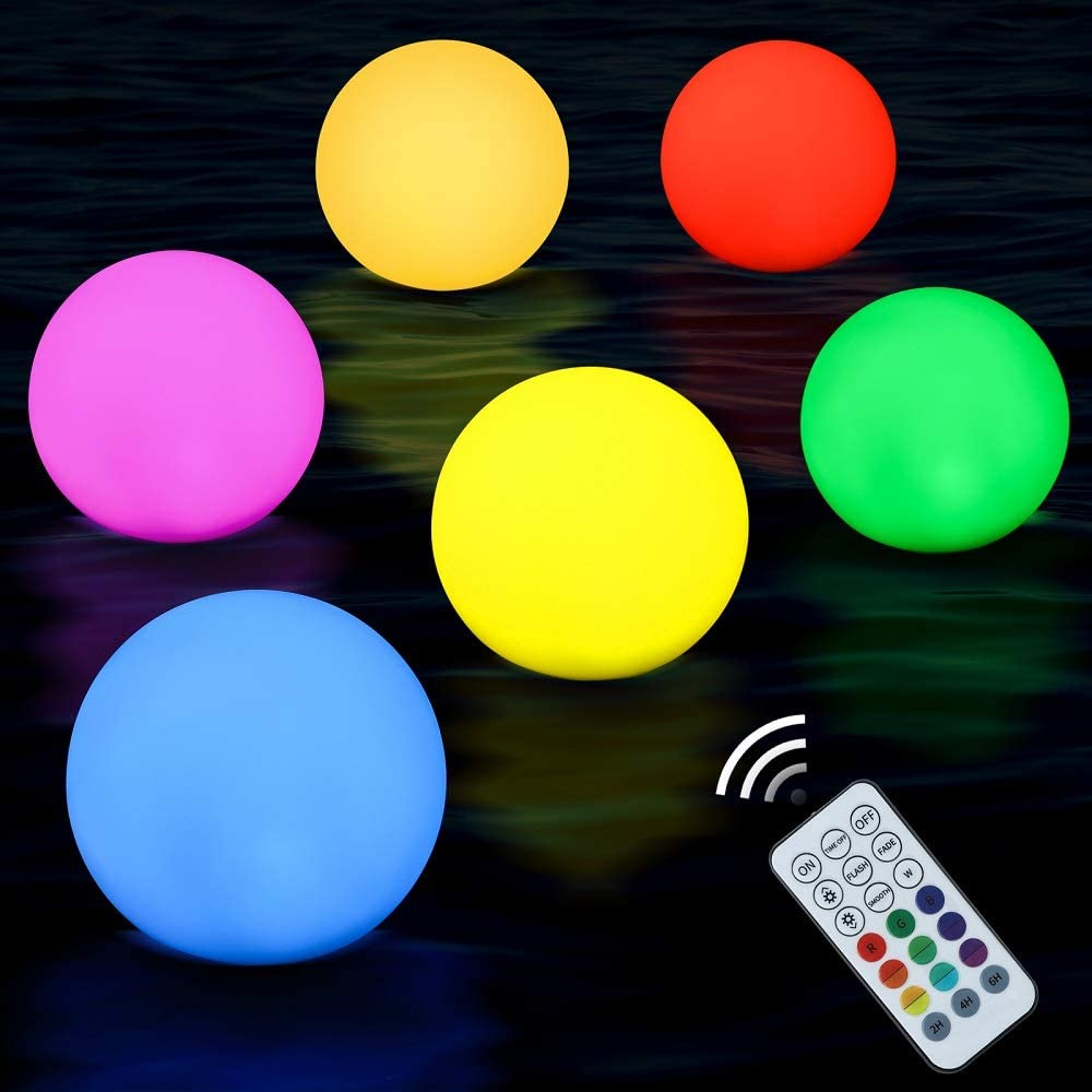AUSHEN Floating Pool Lights 6 Packs with Timer, RGB Color Changing LED Ball Lights with Remote Control, Full Waterproof Swimming Pool Lights, Hot Tub Glow Night Light Ball Lamp Christmas Decor Pool