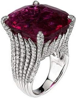 خاتم فضي ضخم للرجال مع نقش مميز بحجر أحمر أحمر كبير مقاس 10 أمريكي