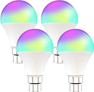 HNQH Bombilla de luz Alexa, Bombillas inteligentes Wifi E27 / B22 Funciona con Alexa Cambio de color regulable de Google Home 1000lm 2000-7000k [clase energética A +]