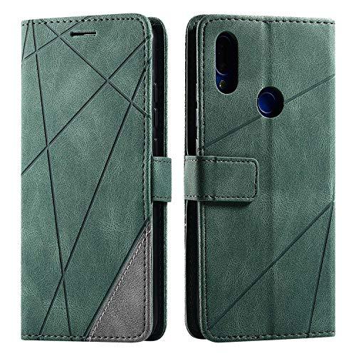 Hülle für Xiaomi Redmi Note 7, SONWO Premium Leder PU Handyhülle Flip Hülle Wallet Silikon Bumper Schutzhülle Klapphülle für Xiaomi Redmi Note 7, Grün