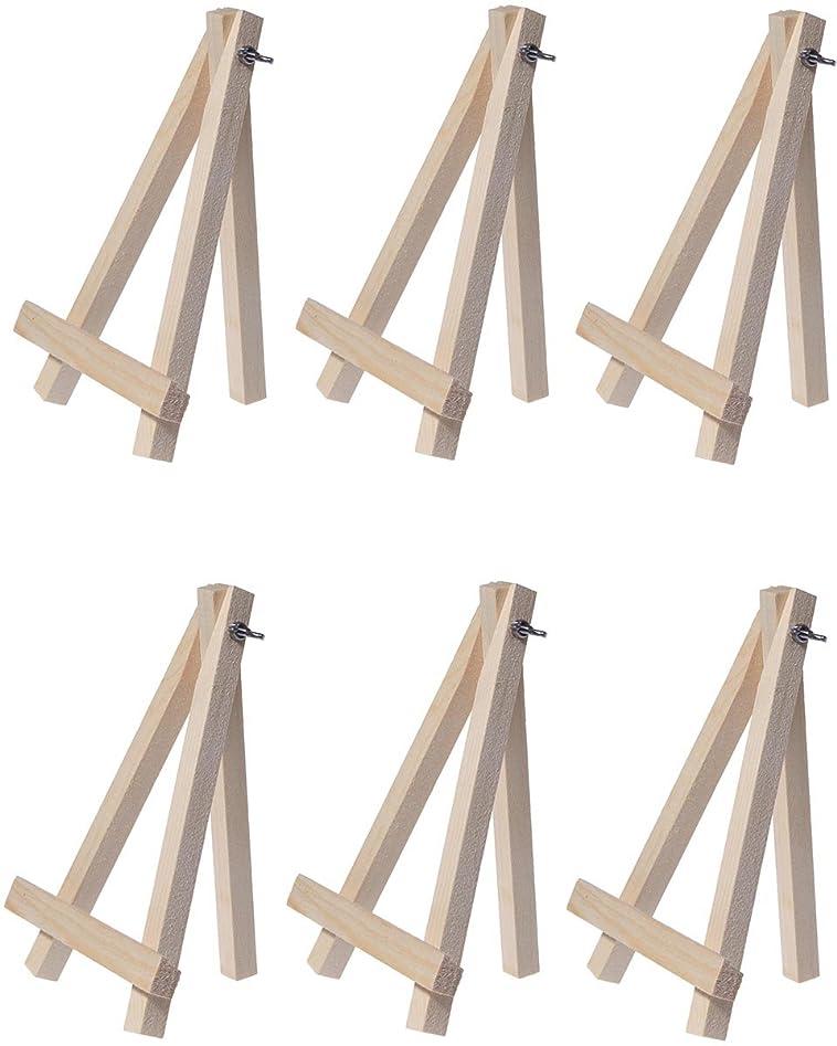 残高準拠負担Juvale ミニイーゼル 6個 天然木製 装飾ディスプレイテーブルセッティングカードホルダー 7インチ