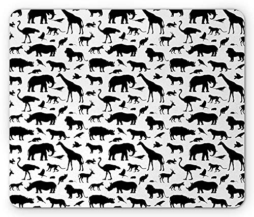 Whecom Animals Gaming Mauspad, African Wildlife Habitat Silhouette Composition Animals as Giraffe Elephant, Standard Size Rectangle Non-Slip Rubber Mousepad, Black and White 9.8 X 11.8 INCH