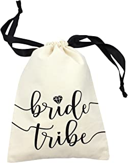 "10pc Bride Tribe Drawstring Bags w/Satin Ribbon, 7x5"" - Cotton Pouch for Bridesmaids, Bachelorette, Bridal Party, Bridal Shower, Wedding Favor, Survival Kit, Hangover Kit (10pc Pack, Natural & Black)"
