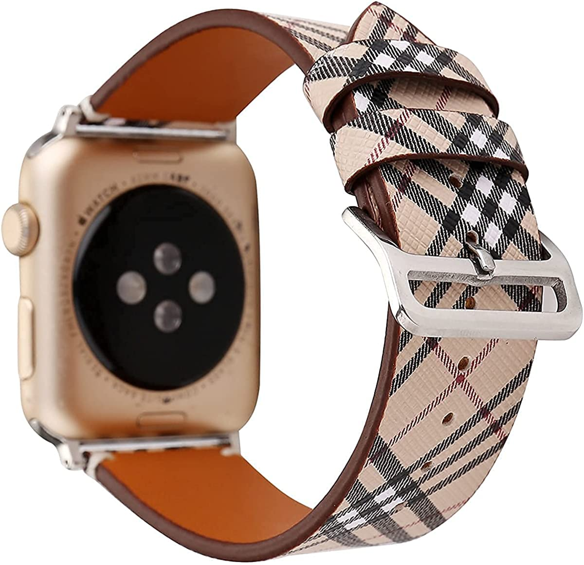 Compatible with Apple Watch Band 38mm 40mm 42mm 44mm,Luxury Designer Soft Leather Watch Band Replacement Wrist Strap Compatible for Watch Series 6/5/4/3/2/1 SE(Brown 42/44)