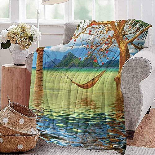 Annays Blanke vakantie beeld van hangmat opknoping tussen bomen in de tropische Lake Paradise Lands kunst werk Super deken gooien deken fleece deken patroon 102X127Cm