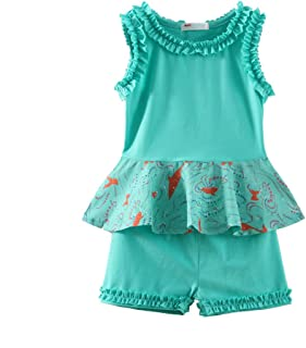 LittleSpring Little Girls Outfits Holiday Summer Shirts and Short Clothes Sets