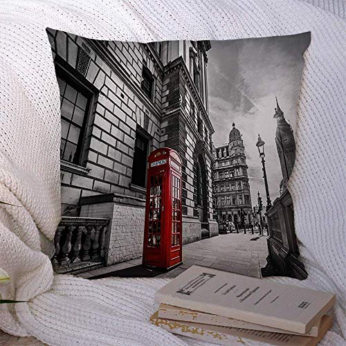 N\A Dekorative Kissenbezüge für Schlafsofa Couch Booth Big Ben am roten Telefon London Europa Großbritannien Straße Great Architecture Travel Box Britischer weicher Kissenbezug