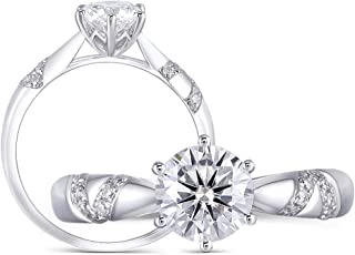 DovEggs Platinum Plated Silver 1ct 6.5mm H Color Heart Arrows Cut Moissanite Engagement Ring Solitare with Accents for Women