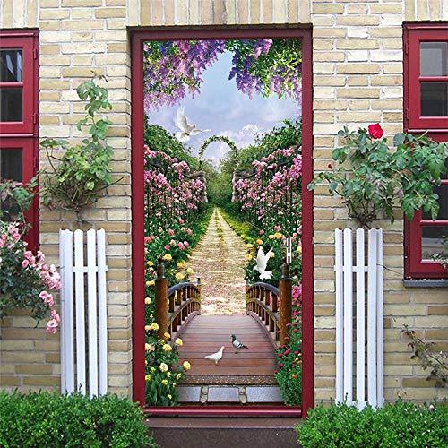 XLXYD deurstickers foto's blik op de bosbrug van het boszee deurbehang zelfklevend vlieslinnen wand fotobehang deurpaneel deurposter deursticker deur decoratie foto Bil 77x200cm A5