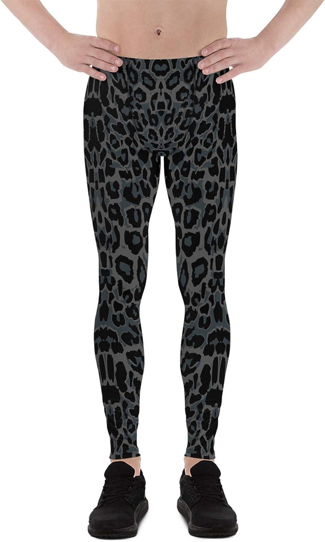 Satori_Stylez Black Panther Leggings for Men Leopard Spots Pattern Print Mid Waist Workout Pants