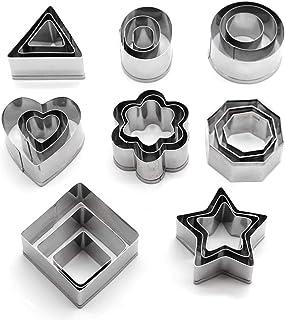 O-Kinee Emporte Piece Patisserie, Lot de 24 Mini Forme Géométrique Biscuit, Emporte-pièces en Acier Inoxydable pour Gâteau...