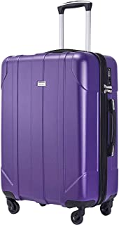 Merax Hardside Spinner Luggage with Built-in TSA Lock Lightweight Suitcase 20inch 24inch and 28 inch Available (Purple, 24-Checking in)