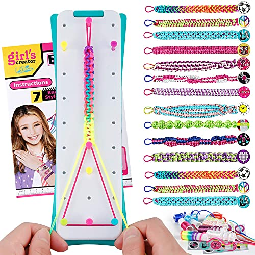 Friendship Bracelet Maker Making Kit for Girls 5-12 Years Old, Crafts for Kids Ages 8-12, Birthday Gifts for 9 10 11 Year Old Girl, Teen Girls Bracelet Maker Handmade Toys, 14 Bracelets Material