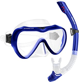 SwimStar Snorkel Set for Women and Men, Anti-Fog Tempered Glass Snorkel Mask for Snorkeling, Swimming and Scuba Diving, An...