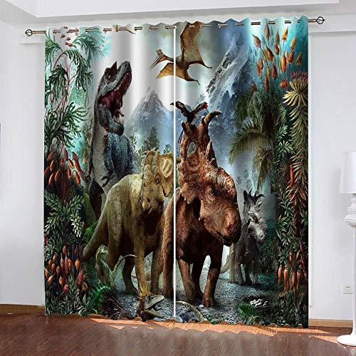 shkdif 3D Verdunkelungsvorhang Tierischer Dinosaurier,Blickdichte Gardinen Vorhang Mit Ösen Schlafzimmer Geräuschreduzierung 150Wx166H cm