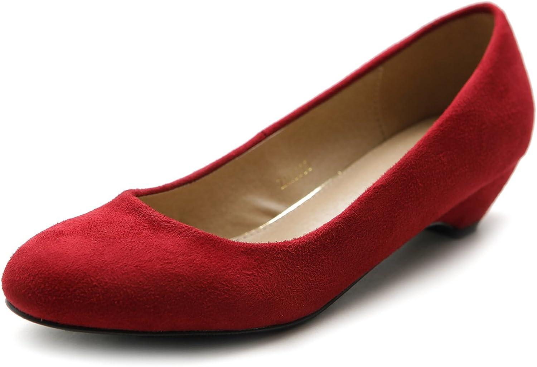 Ollio Women's shoes Classic Low Heel Comfort Faux Suede Pump