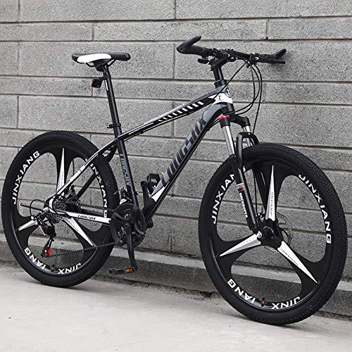 FMOGE Ruote da 24/26 Pollici per Mountain Bike con Sospensione Anteriore A 27 velocità, Bici da Strada con Telaio in Acciaio al Carbonio, Rosso, 26 Pollici